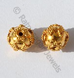 18k Gold Rope Round Granulated Beads