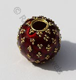 18k Gold Round Red Enamel Beads