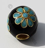 18k Gold Round Black Enamel Beads