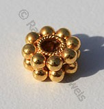 18k Gold Double Daisy Spacer Beads