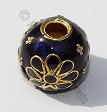 18k Gold Round Blue Enamel Beads