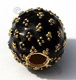 18k Gold Round Black Gold Dots Enamel Beads