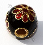 18k Gold Round Black Red Flower Enamel Beads