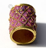 18k Gold Cylindrical Pink Enamel Beads
