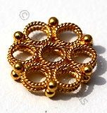 18k Gold Granulated Flower Ring Beads