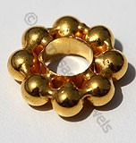 18k Gold Single Daisy Spacer Beads
