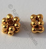 18k Gold Double Flower Spacer Beads
