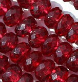Red Spinal Faceted Rondelle