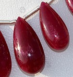 Ruby Gemstone  Flat Pear Plain