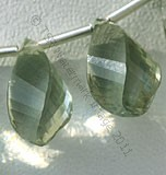 Green Amethyst Gemstone Twisted Tear drops beads