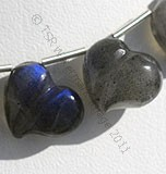 Labradorite Blue Power Chubby Heart Plain Beads