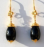 Black Gemstone Gold Earrings