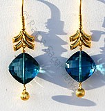 Blue Gemstone Gold Earrings