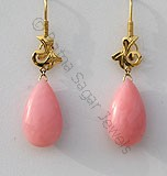 Pink Gemstone Gold Earrings