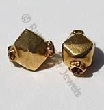 18k Gold Octahedron Capped Beads