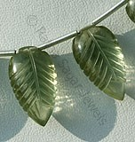Green Amethyst Gemstone Carved Leaf