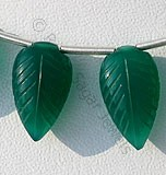 Green Onyx  Carved Leaf