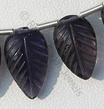 Iolite Gemstone Beads  Carved Leaf
