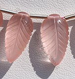 Rose Quartz Carved Leaf